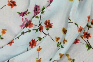 Floral Printed Silk Chiffon - Multi Colour on Pale Blue and Yellow