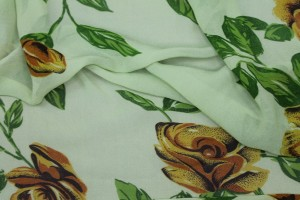 Floral Printed Silk Chiffon - Greens and Yellow