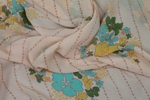 Floral Printed Silk Chiffon - Multi Colour on Peach