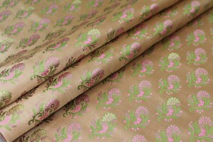 Soft Banaras Brocade - Peach, Green and Pink