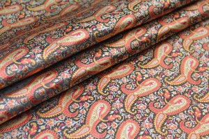 Banaras Brocade - Large Orange Paisley