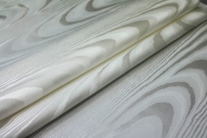 Woven Moiré Brocade Fabric - Ivory Silk Cotton Mix