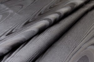Woven Moiré Brocade Fabric - Black Silk Poly Mix
