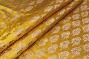 Soft Banaras Brocade - Saffron Yellow, Pink and Green