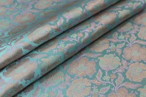 Soft Banaras Brocade - Pale Blue, Lilac and Mint