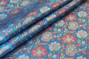 Soft Banaras Brocade - Royal Blue, Pinks and Green