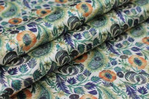 Floral Printed Brocade - Blue, Green and Orange on Cream