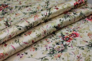 Floral Printed Brocade - Multi Coloured on Cream