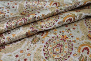 Heavy Banaras Brocade - Ivory / Orange