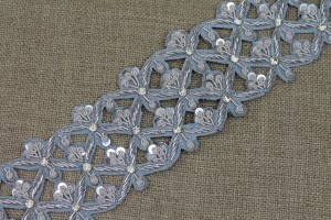 Zari & Sequin Trim - Silver / Pale Blue