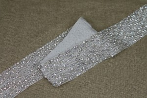 Wide Beaded Diamanté Grosgrain Ribbon in Ivory and Silver