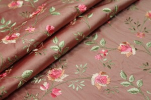 Embroidered Dupion - Pink Roses on Tea Rose