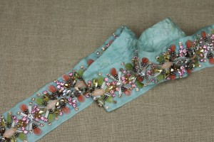 Beaded Diamanté Grosgrain Ribbon in Pale Green and Multi Colour