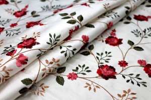 Embroidered Dupion - Red and Pink Roses on Ivory