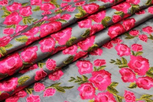 Embroidered Dupion - Bright Pink Roses on Grey Blue