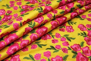 Embroidered Dupion - Bright Pink Roses on Sunflower Yellow