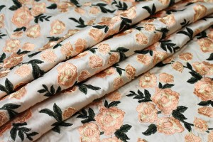 Embroidered Dupion - Pale Pink Roses on Blush Pink
