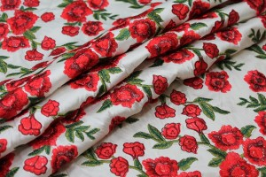 Embroidered Dupion - Red Roses on Ivory