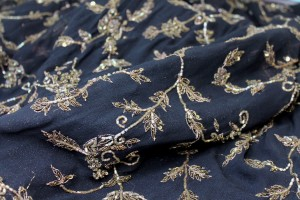 Black and Gold Floral Embroidery on Black Chiffon