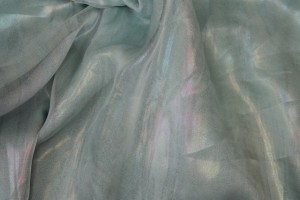 Foil Printed Silk Chiffon - Pale Blue Oil Slick