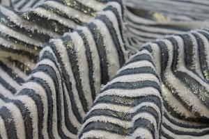 Cotton and Lurex Stripe Applique - Dark Grey, Cream and Gold
