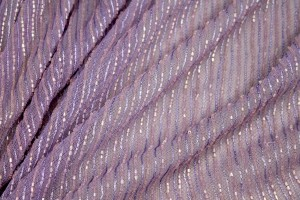 Lilac tulle with embroidered and bugle beaded stripes