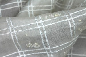 Pastel Beads Sandwiched in Silk Organza - Ivory