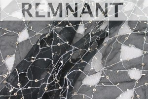 REMNANT - Black Chiffon with Silver Metallic thread. - 1.4m piece