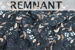 REMNANT - Black chiffon with brown and cream floral embroidery - 3.6m piece
