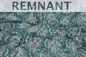 REMNANT - Beaded and Sequinned Lace in Teal - 1.65m piece