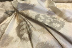 Patterned Silk Dupion - Ivory, Tan and Grey