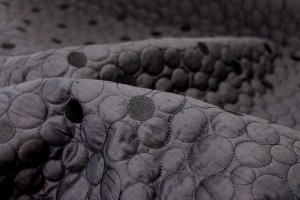Quilted Silk Dupion - Black Circles