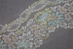 Beaded and Lightly Corded Lace Trim - Ivory / Pastel