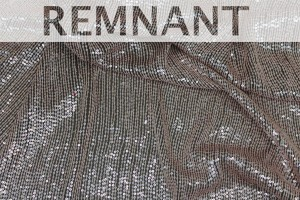 REMNANT - Micro Sequin On Silk Chiffon - Pale Pink on Mushroom - 1.45m piece
