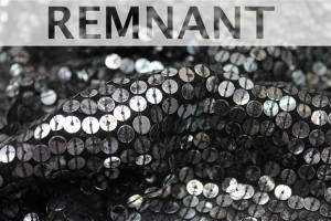 REMNANT - Tarnished Silver Square Sequin On Black Silk Chiffon - 1.9m piece