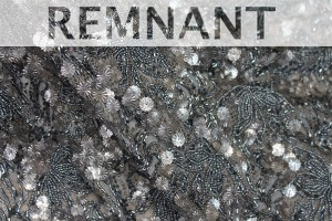 REMNANT - Heavily Beaded and Sequinned Lace in Gunmetal Grey - 1.6m piece