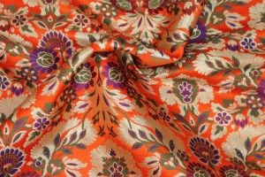 Heavy Banaras Brocade - Orange/Multi