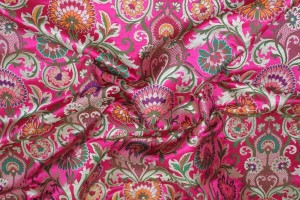 Heavy Banaras Brocade - Deep Pink/Multi