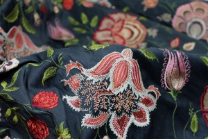 Large Floral Embroidery on Black Silk Dupion