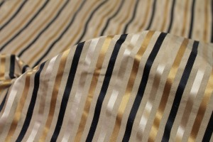 Satin Striped Silk - Black and Gold