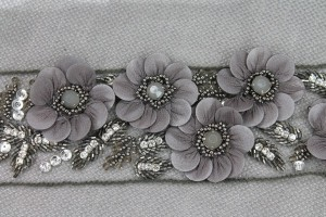 3D Floral Trim with Georgette covered Sequin Petals and Beaded Centre - Anthracite