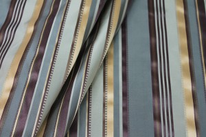Satin Stripe Taffeta - Blue, Plum and Gold