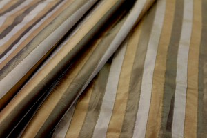 Wide Striped Silk Dupion - Khaki and Dark Brown