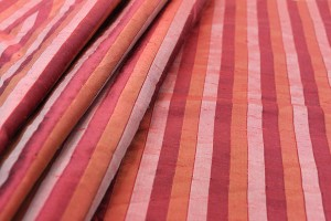 Wide Striped Silk Dupion - Coral, Orange and Red