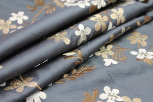 Floral Embroidered Silk Dupion - Charcoal