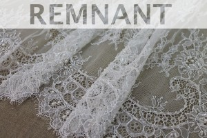 REMNANT - Beaded Chantilly Lace - Ivory Single Scallop - 1m piece