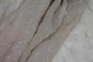 Metallic Floral and Swirl Embroidery on Oyster Silk Chiffon