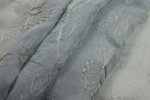 Metallic Floral Embroidery on Pale Blue Silk Chiffon