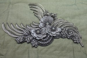 Large Floral Beaded Diamante Motif in Anthracite / Grey