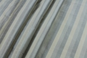 Wide Striped Silk Dupion - Cream Grey